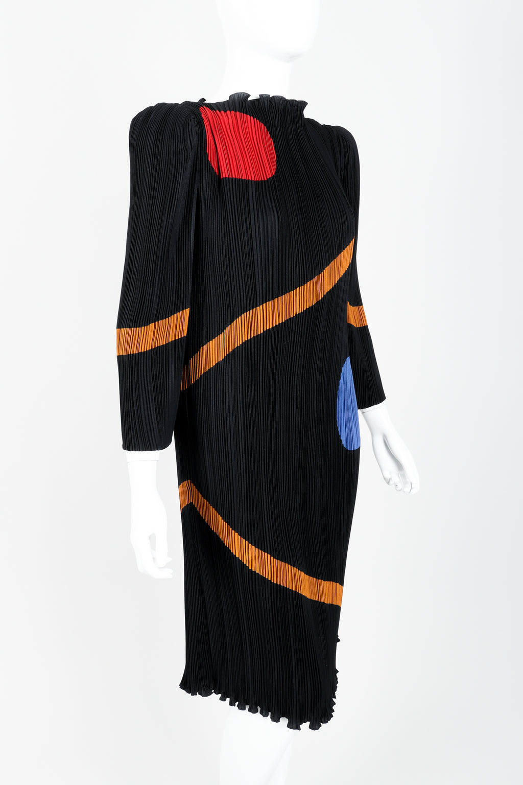 Vintage John Bates Pleated Graphic Print Dress Angle at Recess