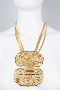 Judith Leiber Filigree Plate Bib Necklace