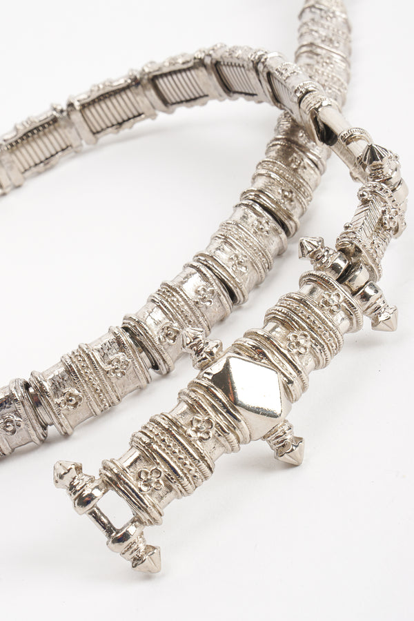 Vintage Judith Leiber Silver Byzantine Metal Belt at Recess Los Angeles
