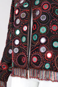 Recess Los Angeles Vintage Judith Ann Creations Beaded Mirror Fringe Boxy Jacket