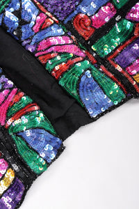 Recess Los Angeles Vintage Judith Ann Creations Stained Glass Mosaic Sequin Jacket