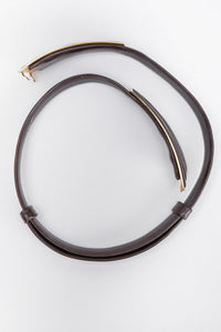 Recess Los Angeles Vintage Judith Leiber Brown Leather Gold V Shaped Buckle