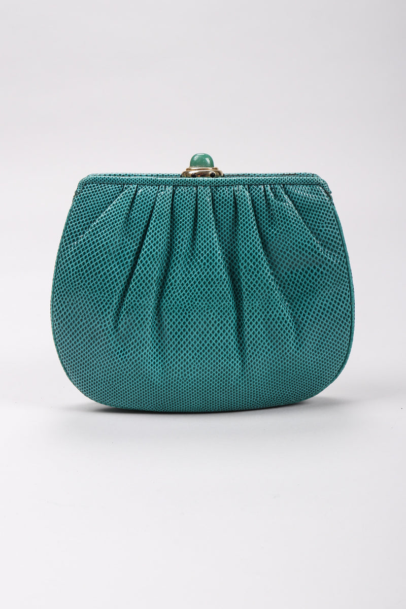 Recess Los Angeles Vintage Judith Leiber Teal Lizard Tassel Bag