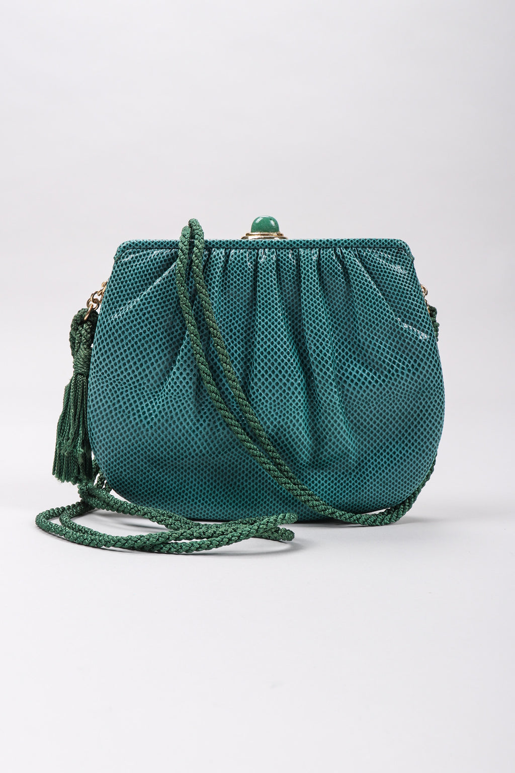 f15dc538bb75 Recess Los Angeles Vintage Judith Leiber Teal Lizard Tassel Bag