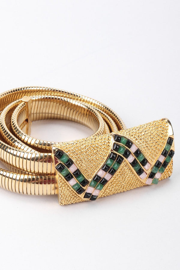 Recess Los Angeles Vintage Judith Leiber Snake Mosaic Buckle Stretch Metal Belt