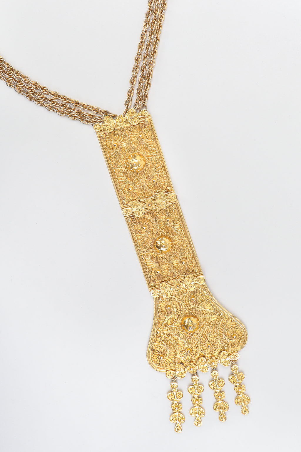 Vintage Judith Leiber Golden Long Filigree Plate Y Necklace at Recess Los Angeles