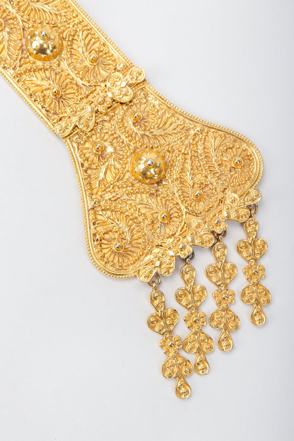 Vintage Judith Leiber Golden Long Filigree Plate Y Necklace Close Up at Recess Los Angeles