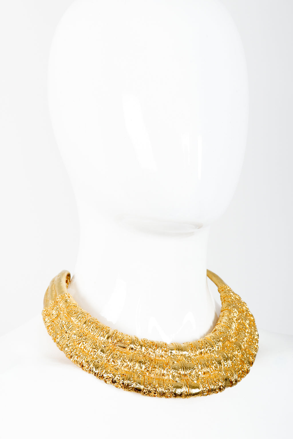 Vintage Judith Leiber Gold Etruscan Collar Plate Necklace on Mannequin at Recess