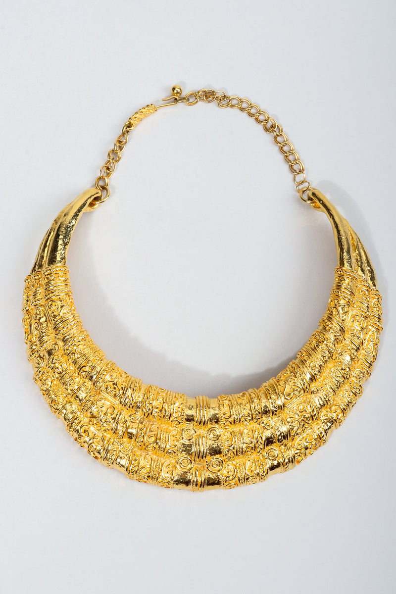 Vintage Judith Leiber Gold Etruscan Collar Plate Necklace at Recess