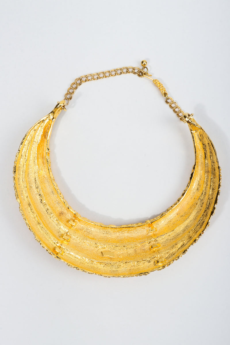 Vintage Judith Leiber Gold Etruscan Collar Plate Necklace Backside