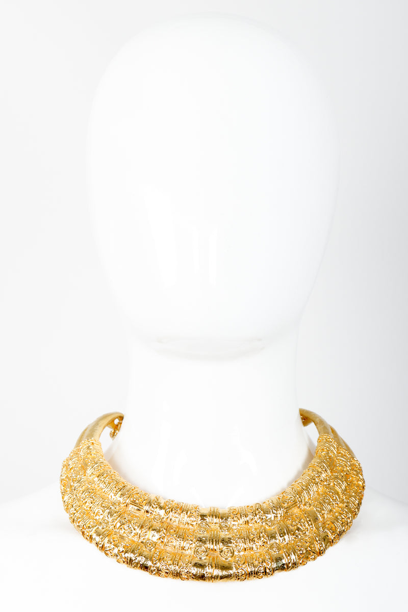 Vintage Judith Leiber Gold Etruscan Collar Plate Necklace on Mannequin front at Recess