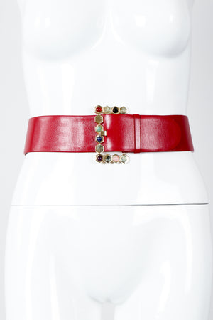 Vintage Judith Leiber Leather Jeweled Cabochon Hexagon Buckle Belt on Mannequin at Recess