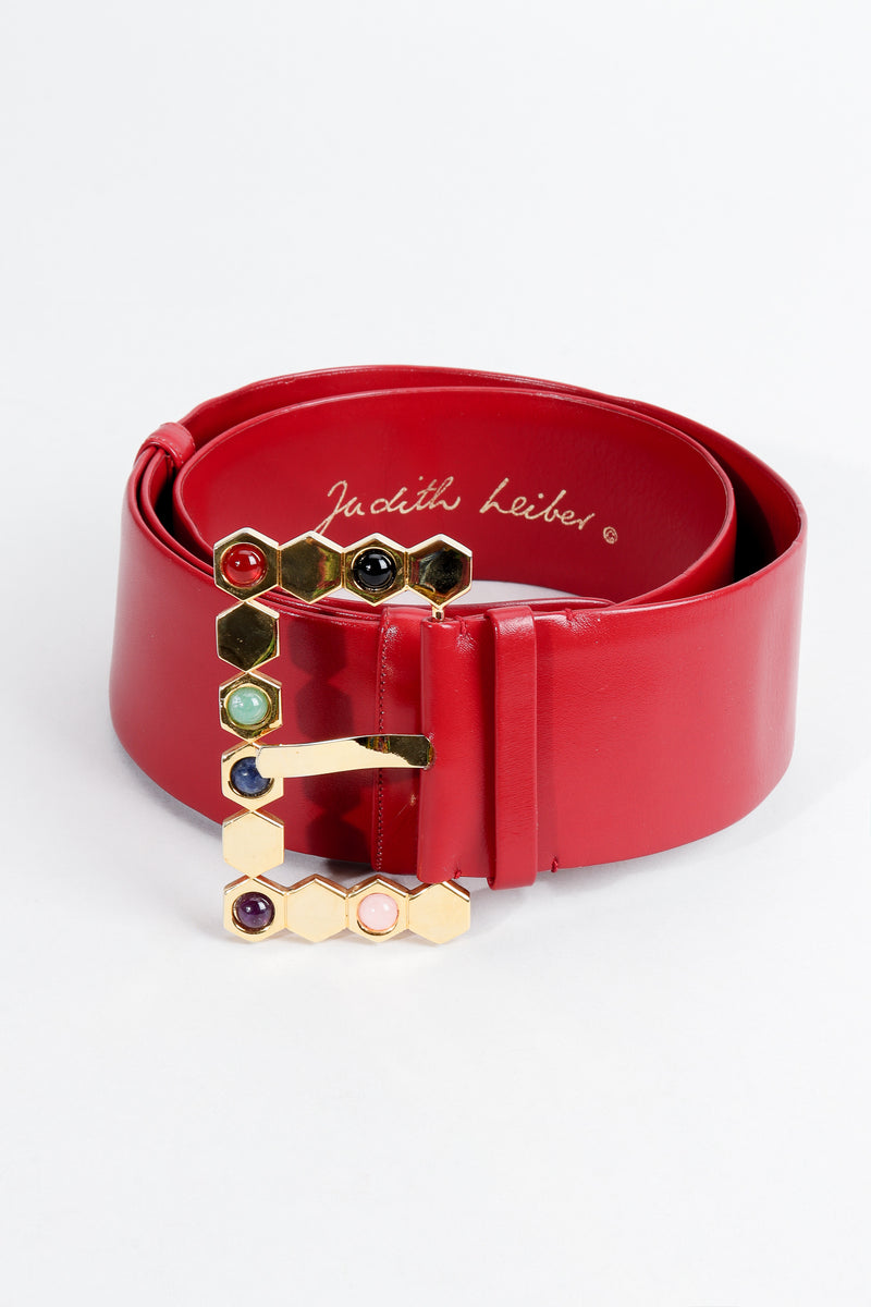 Vintage Judith Leiber Leather Jeweled Cabochon Hexagon Buckle Belt coil at Recess