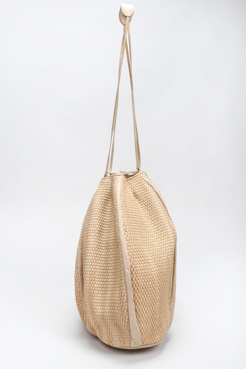 Recess Los Angeles Designer Consignment Vintage Judith Leiber Oversized Woven Lizard Straw Bucket Bag Pouch