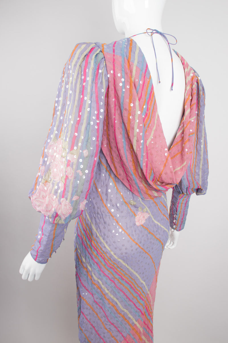 Recess Los Angeles Vintage Judy Hornby Pastel Sequin Chiffon Draped Cowl Back Bishop Sleeve Dress