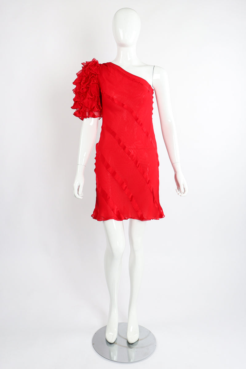 Vintage Judy Hornby Asymmetrical Ruffle Sleeve Bias Dress on Mannequin Front at Recess Los Angeles