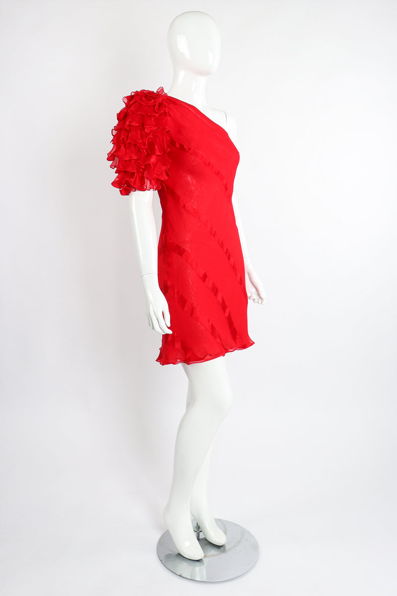 Vintage Judy Hornby Asymmetrical Ruffle Sleeve Bias Dress on Mannequin Angle at Recess Los Angeles