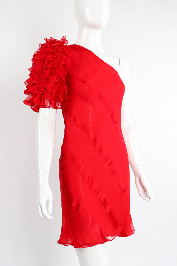 Vintage Judy Hornby Asymmetrical Ruffle Sleeve Bias Dress on Mannequin Angle Crop at Recess LA