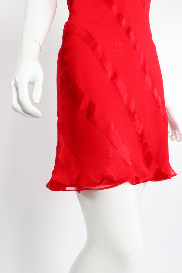 Vintage Judy Hornby Asymmetrical Ruffle Sleeve Bias Dress on Mannequin Skirt at Recess Los Angeles