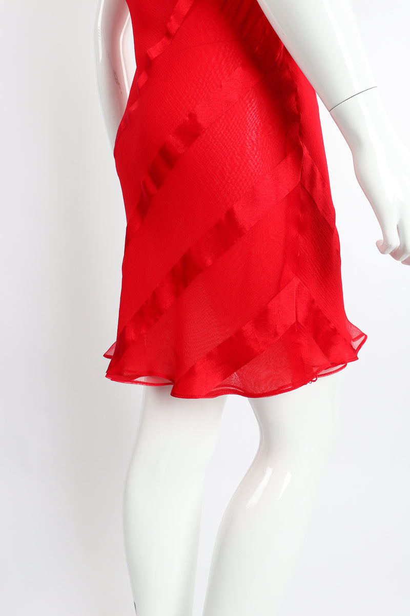 Vintage Judy Hornby Asymmetrical Ruffle Sleeve Bias Dress on Mannequin Back Skirt at Recess LA