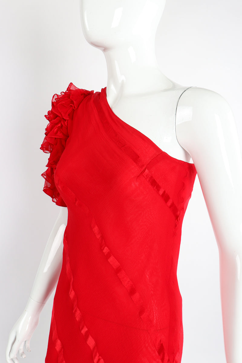 Vintage Judy Hornby Asymmetrical Ruffle Sleeve Bias Dress on Mannequin neckline at Recess LA