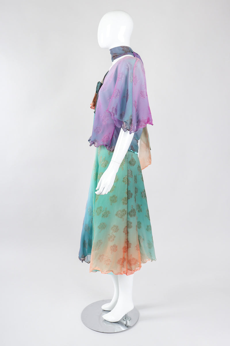 Recess Los Angeles Vintage Judy Hornby Ombré Water Lilies Watercolor Monet Top & Skirt Set