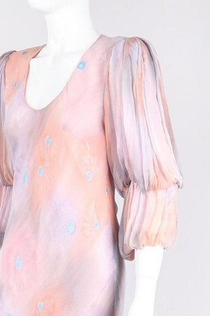 Recess Los Angeles Vintage Judy Hornby Silk Chiffon Watercolor Sunset Sky Bias Dress