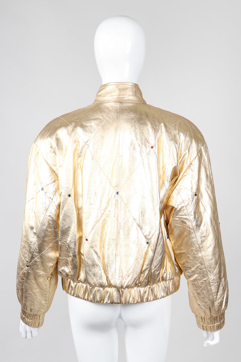 Recess Los Angeles Vintage crystal Stud Julian K Gold Leather Lamé Bomber Jacket