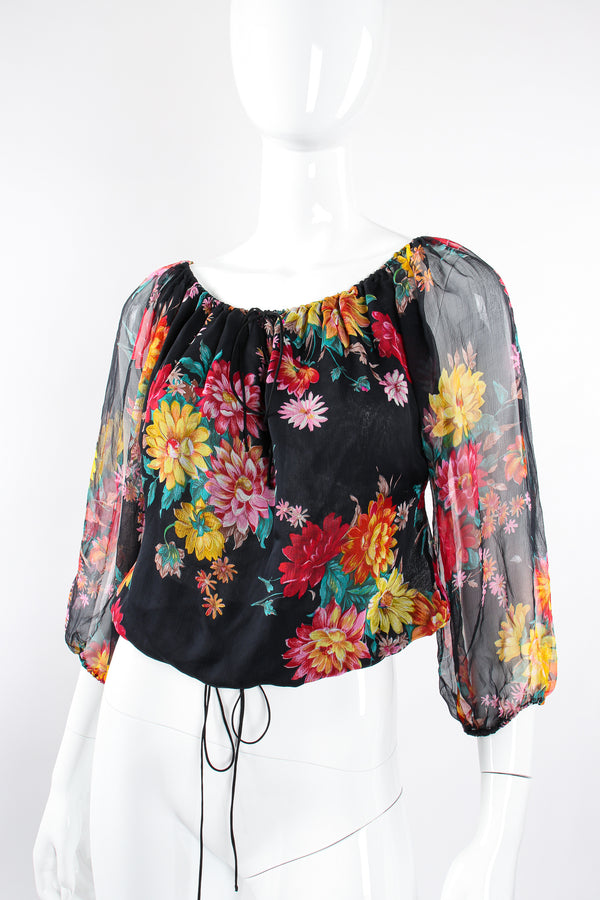 Vintage Julio Espada Floral Silk Peasant Top on Mannequin angle at Recess Los Angeles