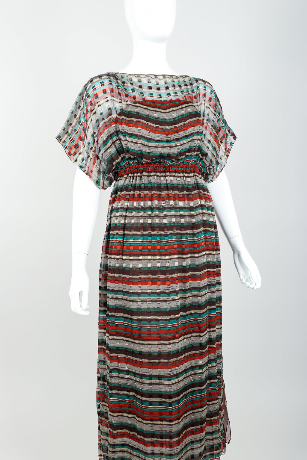 Vintage Julio Sheer Silk Chiffon Stripe Dress On mannequin angle at recess
