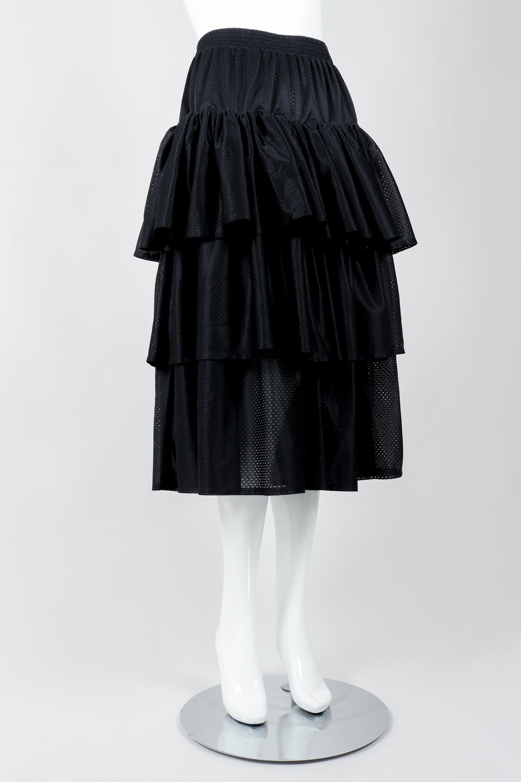 Vintage Junior Gaultier Sport Tiered Mesh Skirt on Mannequin angled at Recess Los Angeles