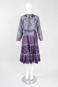 Recess Los Angeles Designer Consignment Vintage Kaiser Gauzy Boho Indian Peasant Dress