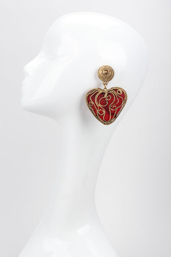 Recess Los Angeles Vintage Kalinger Baroque Bead Heart Drop Earrings