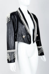 Vintage Kanar Pearl Fringe Cropped Leather Tux Jacket Crop Angle on Mannequin at Recess