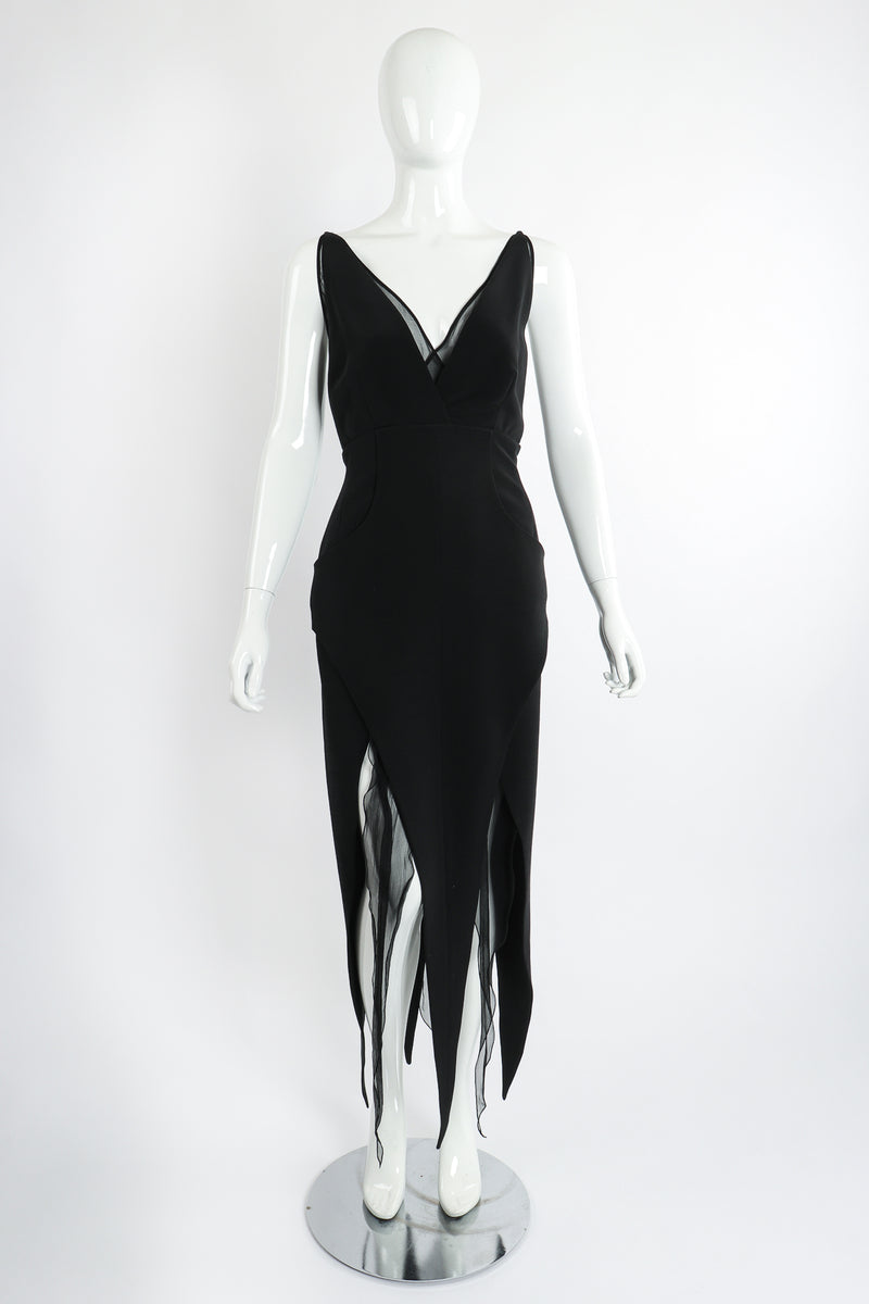 Vintage Karl Lagerfeld Layered Pointed Hem Dress on Mannequin front at Recess Los Angeles