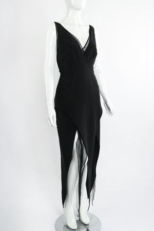 Vintage Karl Lagerfeld Layered Pointed Hem Dress on Mannequin angle at Recess Los Angeles