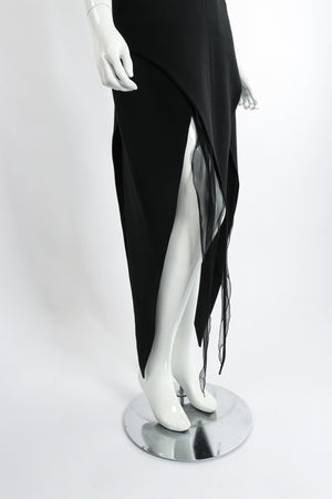 Vintage Karl Lagerfeld Layered Pointed Hem Dress on Mannequin skirt hem at Recess Los Angeles