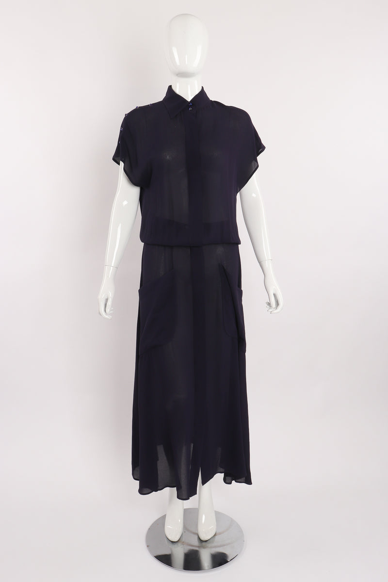 Vintage Karl Lagerfeld Sheer Longline Shirt Dress on Mannequin front at Recess Los Angeles