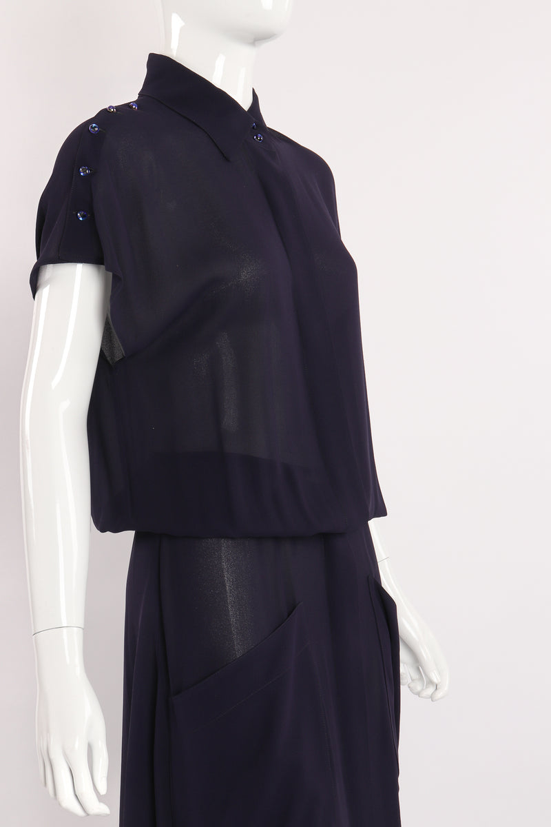 Vintage Karl Lagerfeld Sheer Longline Shirt Dress on Mannequin angle crop at Recess Los Angeles