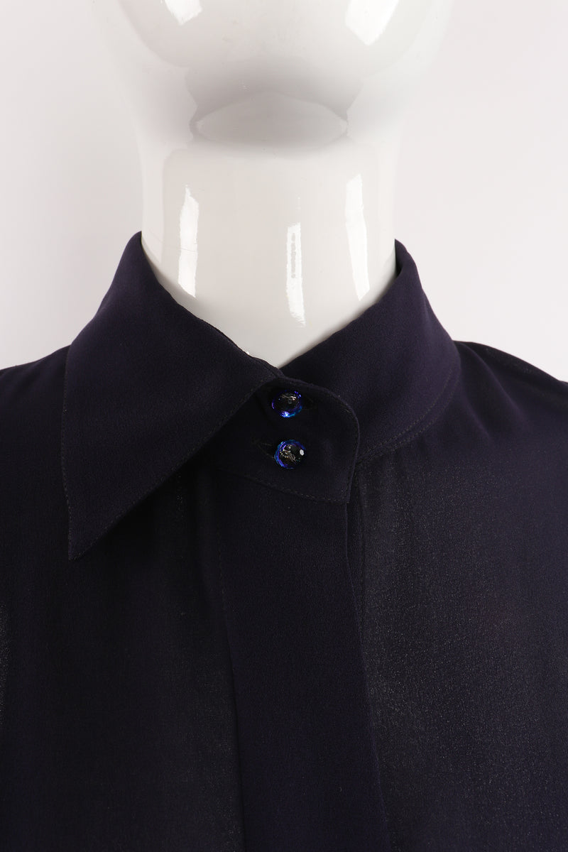 Vintage Karl Lagerfeld Sheer Longline Shirt Dress on Mannequin collar at Recess Los Angeles