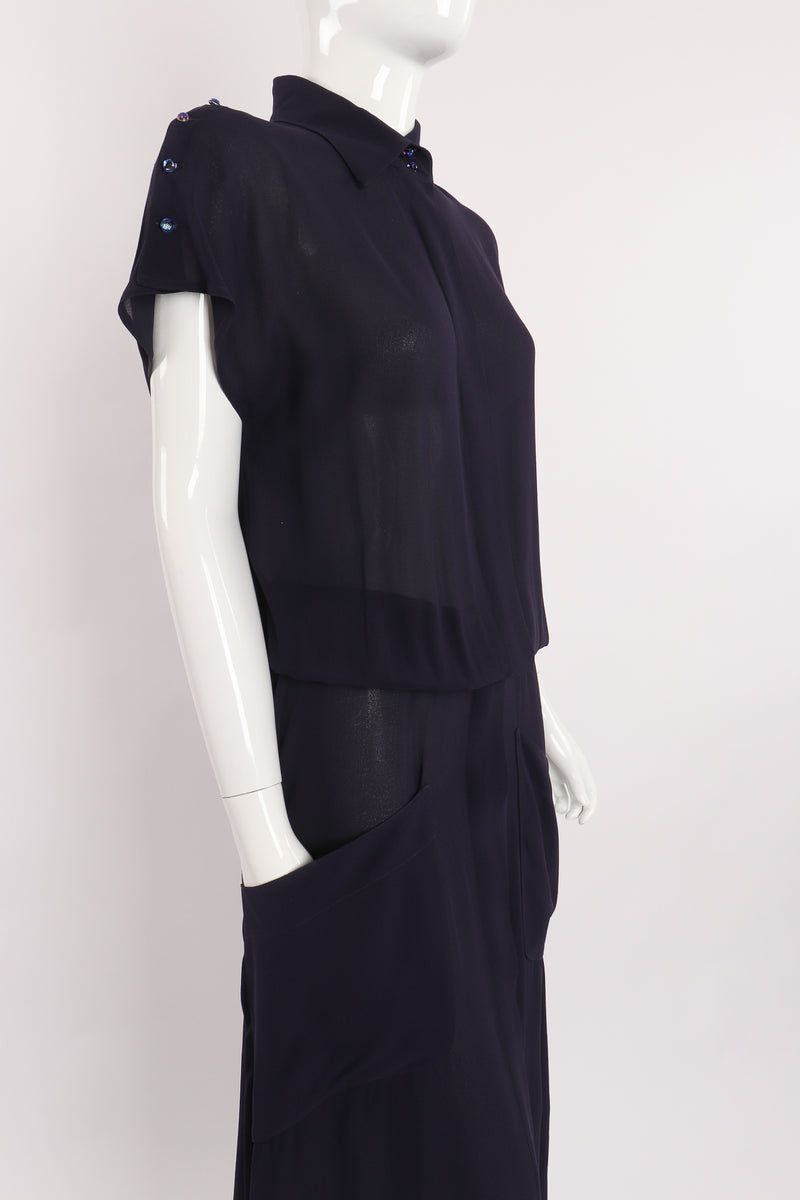 Vintage Karl Lagerfeld Sheer Longline Shirt Dress on Mannequin side at Recess Los Angeles