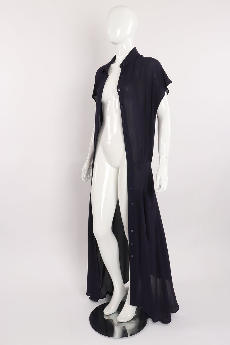 Vintage Karl Lagerfeld Sheer Longline Shirt Dress on Mannequin open at Recess Los Angeles