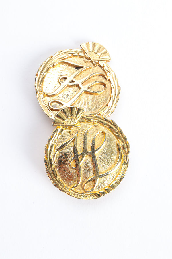 Vintage Karl Lagerfeld Gold Monogram Logo Button Earrings at Recess Los Angeles