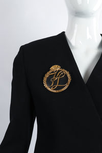 Vintage Karl Lagerfeld Oversized Monogram Logo Brooch on Mannequin at Recess Los Angeles