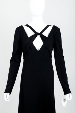 Vintage Karl Lagerfeld Twist Front Dress on Mannequin neckline at Recess Los Angeles