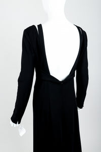 Vintage Karl Lagerfeld Twist Front Dress on Mannequin open back at Recess Los Angeles