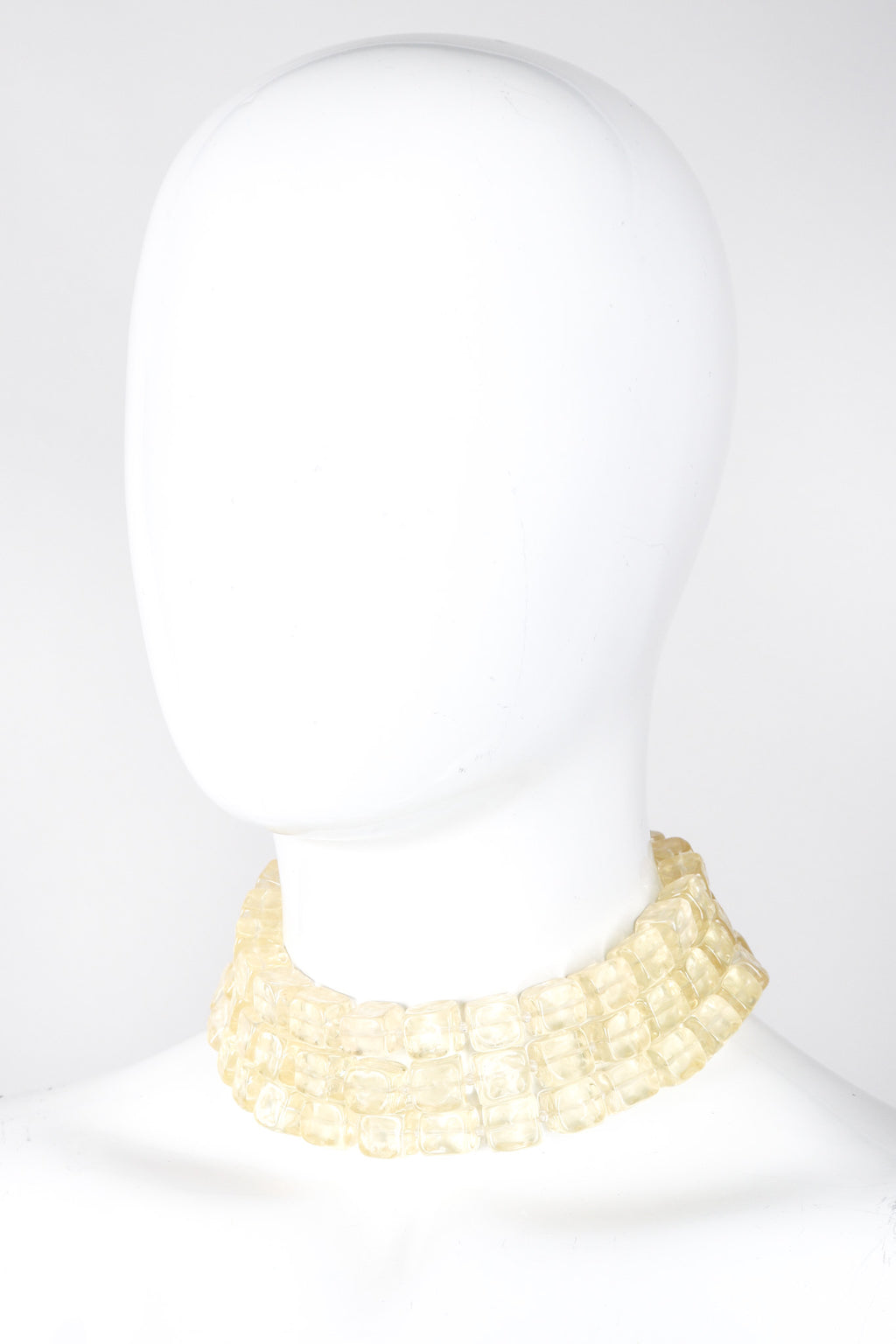Recess Los Angeles Vintage Karl Lagerfeld Resin Frosted Cubes Chain Link Gold Collar Choker