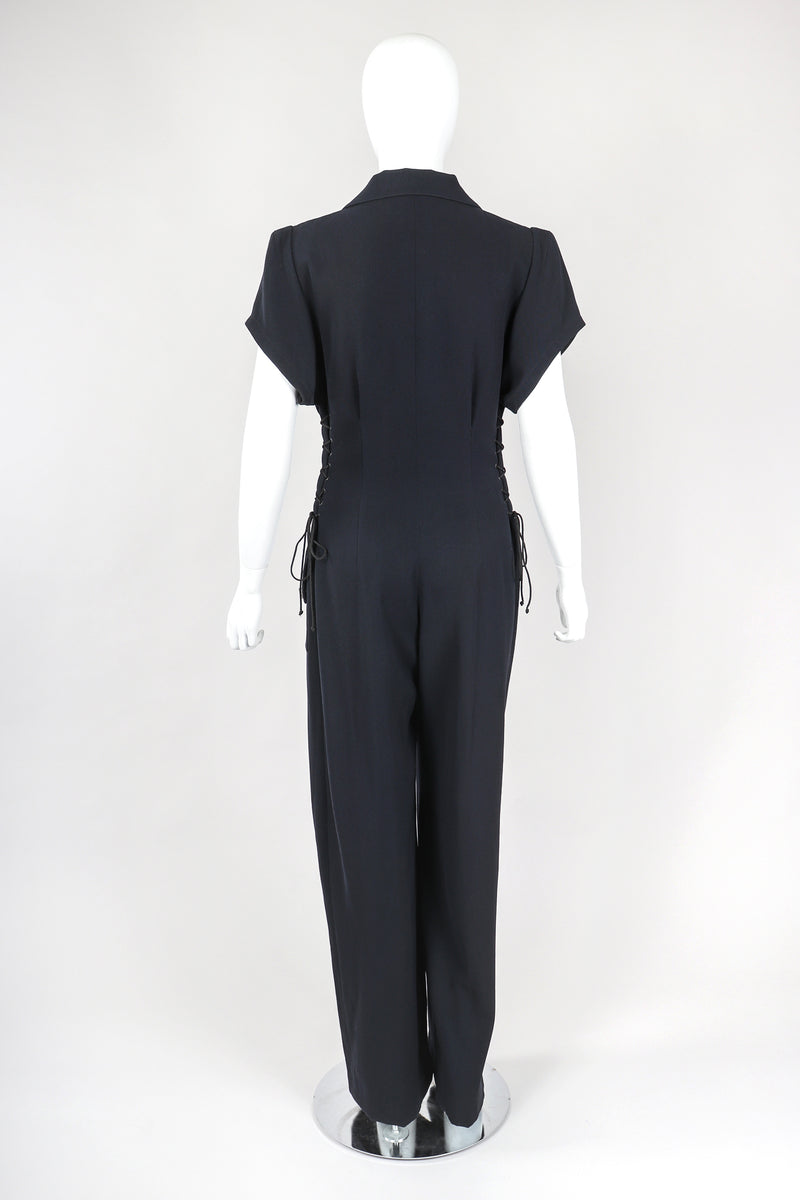 Recess Designer Consignment Vintage Karl Lagerfeld Wool Patch Pocket Utility Jumpsuit Flightsuit Coverall Los Angeles Resale