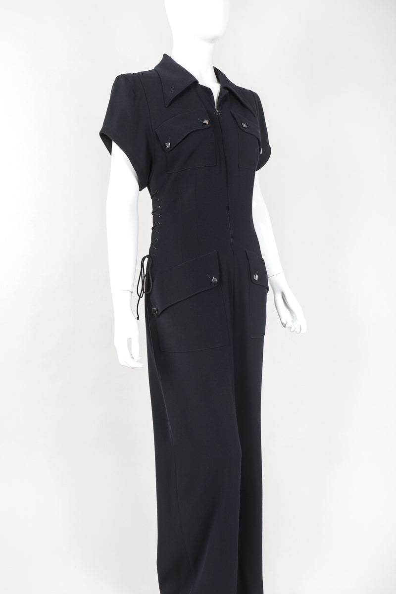 xRecess Designer Consignment Vintage Karl Lagerfeld Wool Patch Pocket Utility Jumpsuit Flightsuit Coverall Los Angeles Resale