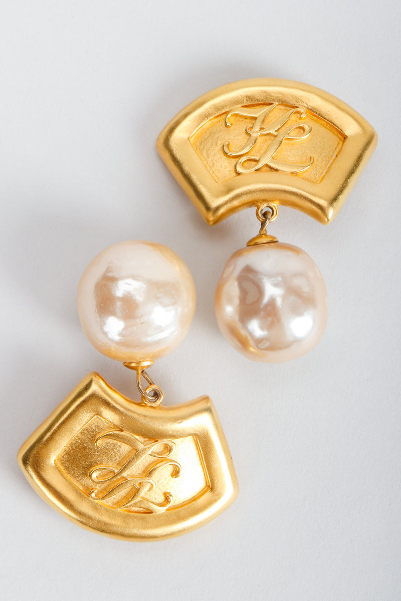 Recess Vintage Karl Lagerfeld Golden Fan Pearl Drop Earrings on Grey